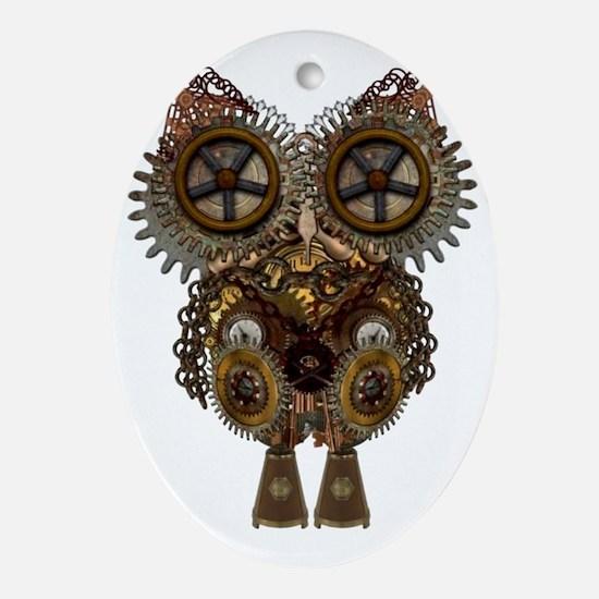 Steampunk Metallic Owl Oval Ornament