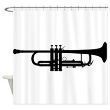 Trumpet Silhouette Shower Curtain