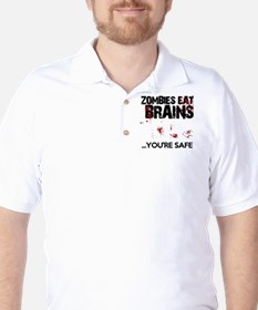 zombies eat brains youre safe funny Golf Shirt