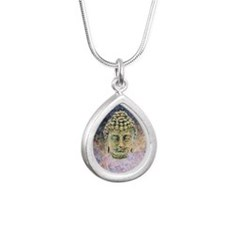 Floating Buddha Silver Teardrop Necklace