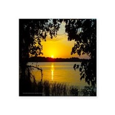 """Sunset Lake - Yellow Square Sticker 3"""" x 3"""""""