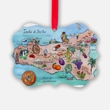 Map of Sicily Picture Ornament