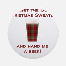 Ugly Sweater Beer Round Ornament