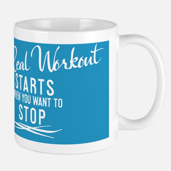 greeting card The real workout starts w Mug