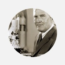 """Wernher von Braun, German rocket pione 3.5"""" Button"""