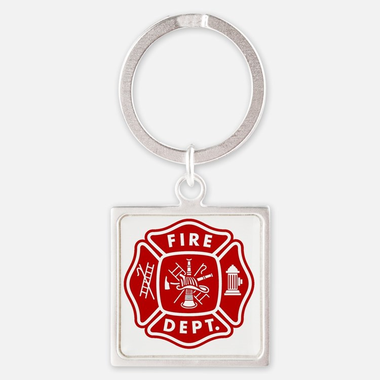 Fire Department Crest Square Keychain