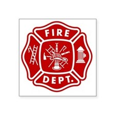 "Fire Department Crest Square Sticker 3"" x 3"""