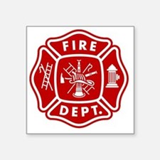"Fire Department Crest Square Sticker 3"" x 3"""