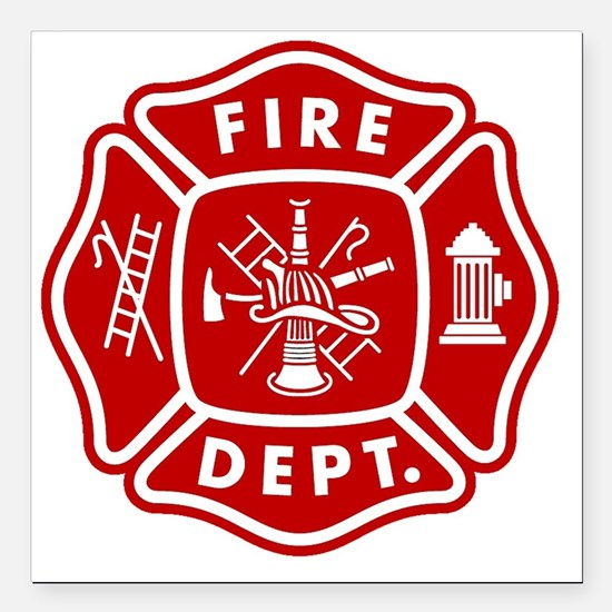"Fire Department Crest Square Car Magnet 3"" x 3"""