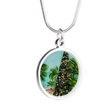 100 ft Christmas Tree Silver Round Necklace