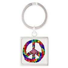 Psychedelic Peace Sign Square Keychain