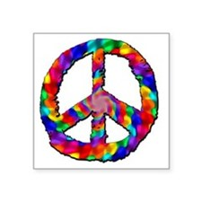 "Psychedelic Peace Sign Square Sticker 3"" x 3"""