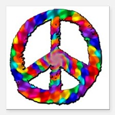 """Psychedelic Peace Sign Square Car Magnet 3"""" x 3"""""""