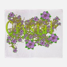 Crystal Floral Lavender Flowers yell Throw Blanket