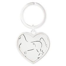 Stylized 3-Gaited American Saddlebr Heart Keychain