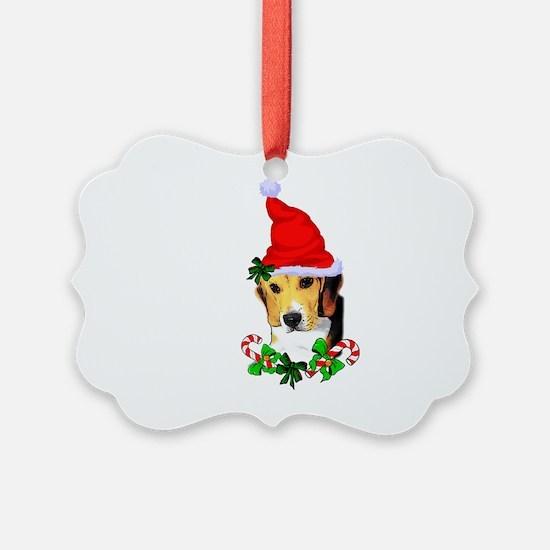 Beagle With Santa Hat Ornament