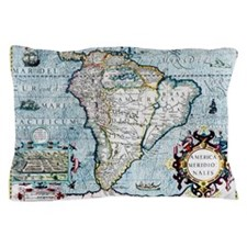 17th century map of South America Pillow Case