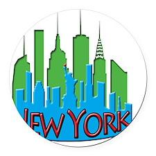 NYC Skyline NewWave Primary Round Car Magnet