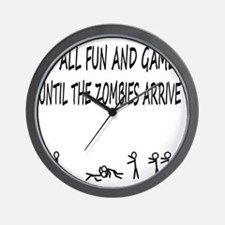 Fun and Games black print Wall Clock