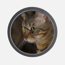 Cute Brown tabby cat Wall Clock