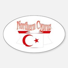 Northern Cyprus flag ribbon Oval Decal