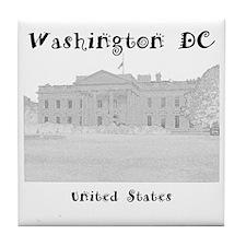 WashingtonDC_12x12_WhiteHouse_Black Tile Coaster