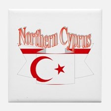 Northern Cyprus flag ribbon Tile Coaster