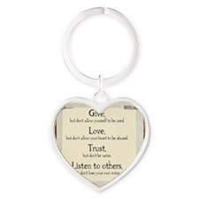 Give but dont allow yourself to be  Heart Keychain