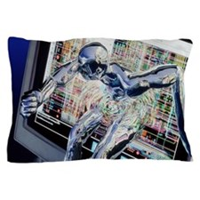 Computer art of humanoid breaking out  Pillow Case