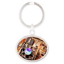 Computer circuit board Oval Keychain