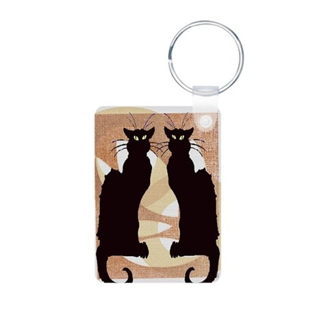 Chat Noir Aluminum Photo Keychain