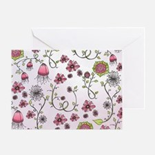 Whimsical pink flowers on pink Greeting Card
