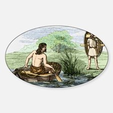 Coracle boats of the ancient Briton Sticker (Oval)