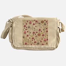 Whimsical pink flowers on beige Messenger Bag
