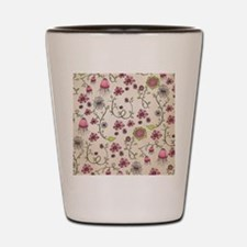 Whimsical pink flowers on beige Shot Glass