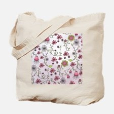 Whimsical pink flowers on pink Tote Bag