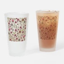 Whimsical pink flowers on beige Drinking Glass