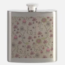 Whimsical pink flowers on beige Flask