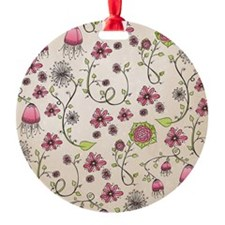 Whimsical pink flowers on beige Ornament