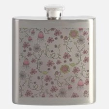 Whimsical pink flowers on pink Flask