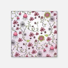 "Whimsical pink flowers on p Square Sticker 3"" x 3"""