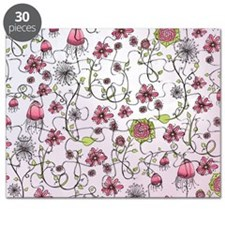 Whimsical pink flowers on pink Puzzle