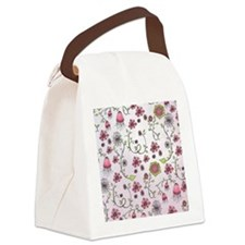 Whimsical pink flowers on pink Canvas Lunch Bag