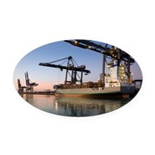 Container ship Oval Car Magnet