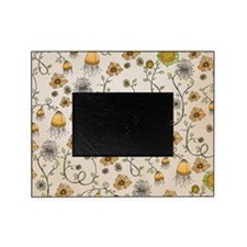 Whimsical orange flowers on beige Picture Frame