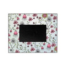 Whimsical pink flowers on blue Picture Frame