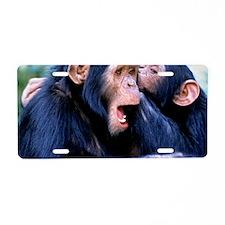 Chimpanzees grooming Aluminum License Plate