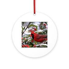 Christmas Cardinal Round Ornament