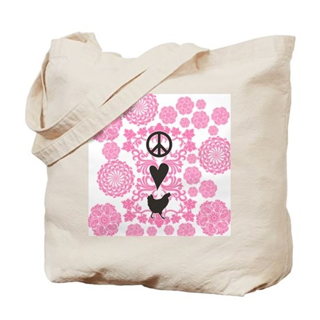 Peace, Love And Chickens Tote Bag
