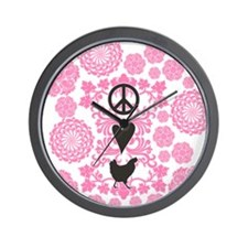 Peace, Love And Chickens Wall Clock